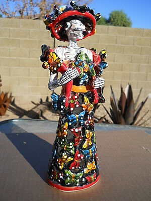 SIGNED Talavera CATRINA girl BUTTERFLY statue Mexican folk art Day of the Dead