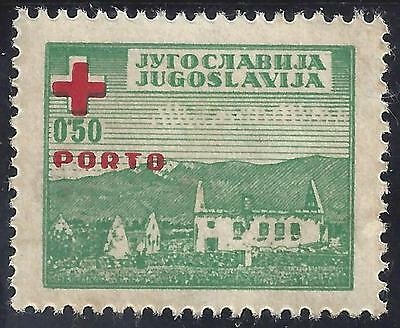 1947 Yugoslavia Red Cross Obligatory Tax Due Stamp Ruins of a village Porto