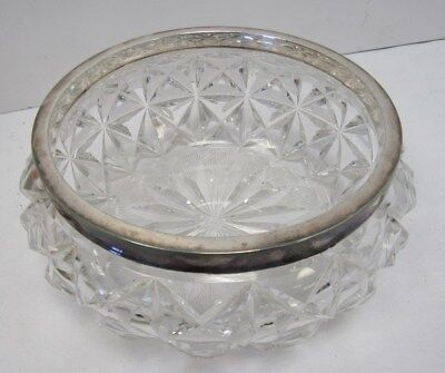 "Vintage Mappin and Webb Silver Plated Rim Glass Bowl 7.5"" Diameter - DOW P2"