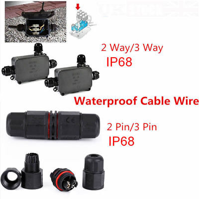 3 Way 2/3Pin Junction Box Waterproof IP68 Cable Wire Connector Protection 10A