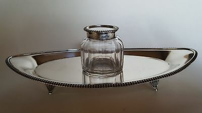 Encrier Cristal et Agent Massif Mappin & Webb - Victorian Silver Inkwell