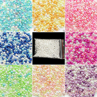500Pcs Simulation Round Pearl Spacer Loose Beads No Hole DIY Craft Making Decor