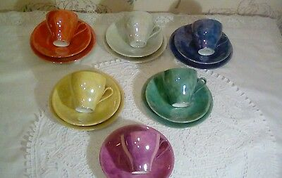 vintage,retro.Cups And Saucers tea plates very pretty colours Unusual