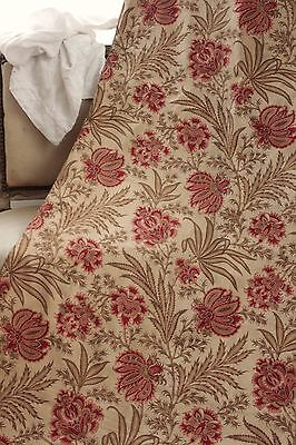 Arts & and Crafts French Curtain c1890 printed Indienne design Turkey red back