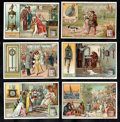 History Of Clocks & Timepieces Liebig Card Set 1905 Vintage Watch Mantle Greece