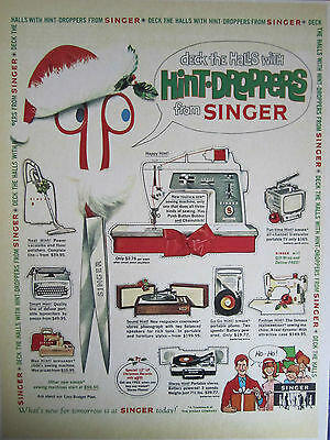 Vintage 1950'S SINGER SEWING HINT DROPPERS CHRISTMAS  Advertising Color Sign/Ad