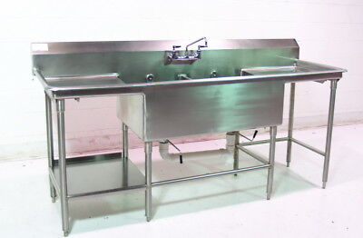 Used S/s 2 Comp Sink w. Drainboards 86in
