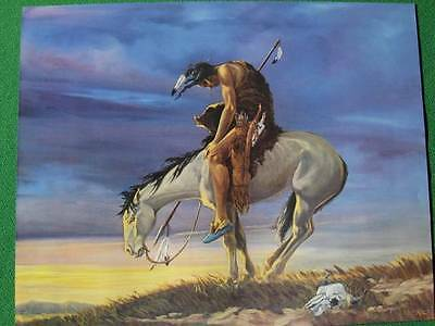"""Native American Indian on Horseback """"End of the Trail"""" Art by Meketi Large Size"""