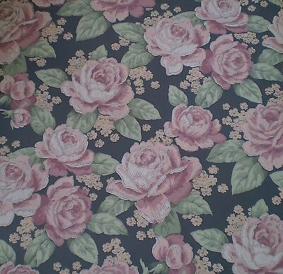 Large Painted Pink Roses on Federal Blue Wallpaper by Seabrook 854BH881