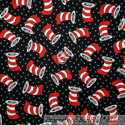 BonEful Fabric KNIT Cotton Dr Seuss Red Blue B/&W Cat Hat Bow Girl Boutique SCRAP