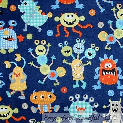 BonEful Fabric FQ Cotton Quilt Blue Orange Green VTG Baby Boy Scary Monster Dot