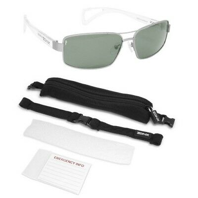Zoinx 90061 Men's Wrap Polarize Sunglasses Silver Aviator Green Lens