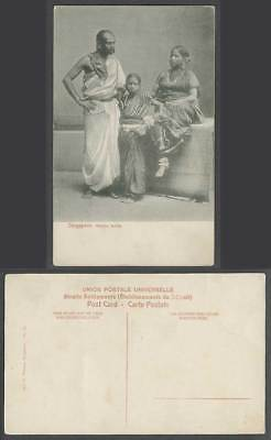 Singapore Old Postcard Indian Hindu Hindoo Family, Woman Girl Costumes Nose Ring