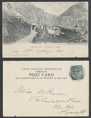 Gibraltar GB KE7 1/2d 1903 Old UB Postcard Governor's Cottage Rock Mountain Road