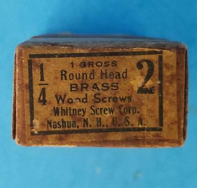 "90 Vintage #2 -- 1/4"" Round Head Brass Slotted Wood Screws NOS Box"
