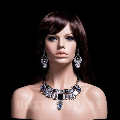 Female Fiberglass Mannequin Head Display Dress Form #MZ-H1