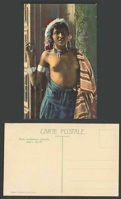 Tunisia Old Postcard Native Arabe Arabic Arab Young Girl with Smile Earrings Hat