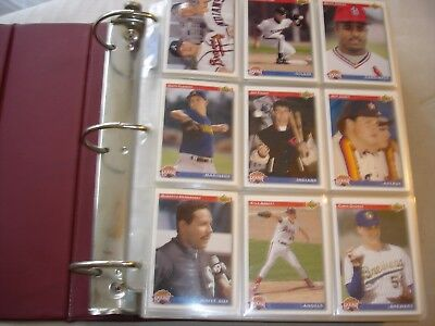 Set UPPER DECK 1991 BASEBALL Trading Cards 800 in ring binder album