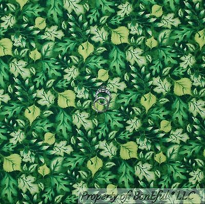 BonEful Fabric FQ Cotton Quilt Green Spring LEAF Small Grass Camp Girl Boy Scout