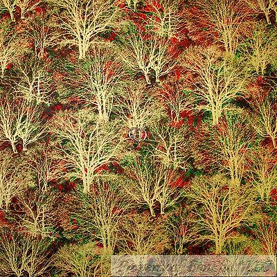 BonEful FABRIC FQ Cotton Quilt Green Red Gold Metallic Xmas Tree Leaf Fall Color