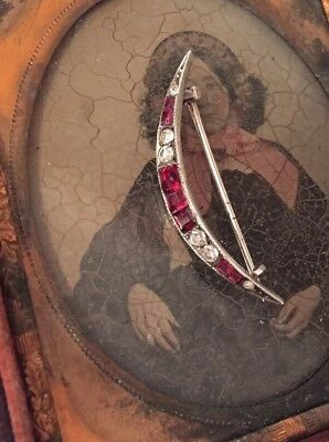 Sensational Antique Edwardian Crescent Moon Ruby Red Paste 800 Silver PIN