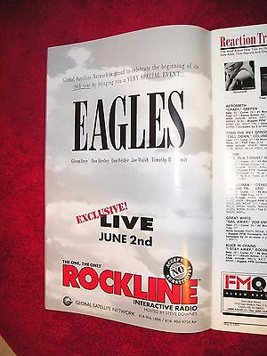 """THE EAGLES - 1994 US Full-Page Color Ad """"Rockline"""" Global Satellite Radio Show"""
