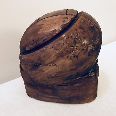 Vintage Wooden Hat Block Millinery Puzzle Mold 5 Piece Restored
