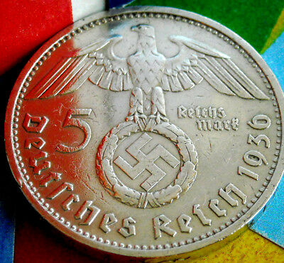 1936-D NAZI BIG SWASTIKA GERMAN 5 Mark .900 SILVER COIN-WW2 GERMANY 5 ReichsMark
