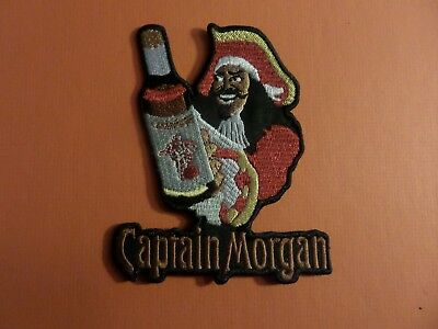 CAPTAIN MORGAN silver & black & red Embroidered 4 x 4-3/4 Iron On Patch