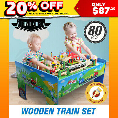 ROVO KIDS Wooden Train Table Track Railway Play Wood Timber Toy Set Playboard
