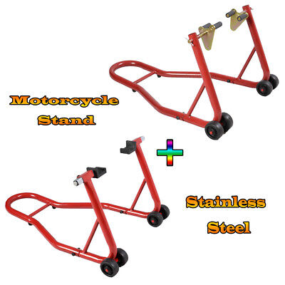 Portable Front And Rear Motorcycle / Bike Paddock Stand / Stands Combo / Pair