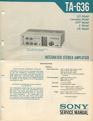 Sony TA-636 Original Integrated Amp Service Manual
