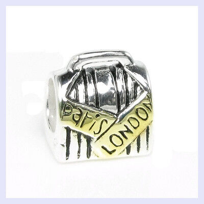 Sterling Silver Paris London Luggage Vacation Bead for European Charm Bracelet