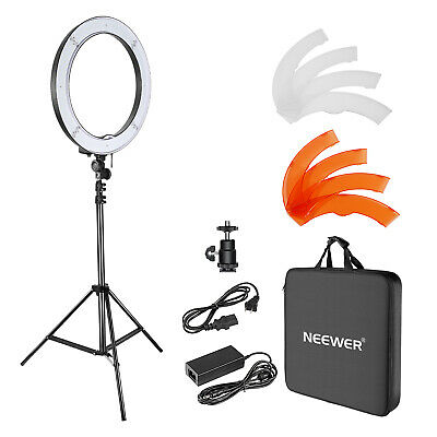 "Neewer Photo Studio 18"" LED SMD Ring Light with Light Stand Color Filter"