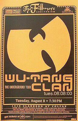 """WU-TANG CLAN """"THE UNDERGROUND TOUR"""" DENVER 2000 CONCERT TOUR POSTER- Band's Logo"""