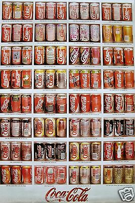 COCA-COLA VARIOUS STYLES OF COKE CANS THROUGHOUT THE YEARS POSTER v.1 - Soda Pop
