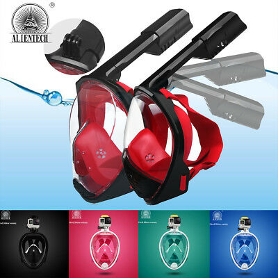 Alientech Underwater 180° Anti-Fog Full Face Mask Folding Snorkel Top Swim Scuba