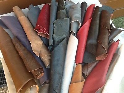 Leather Off Cuts  Mixed colours  Big Beautiful pieces scraps Italian 1 kilo