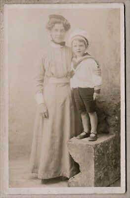 Edwardian Postcard - Very sweet young boy in a sailor suit with his governess
