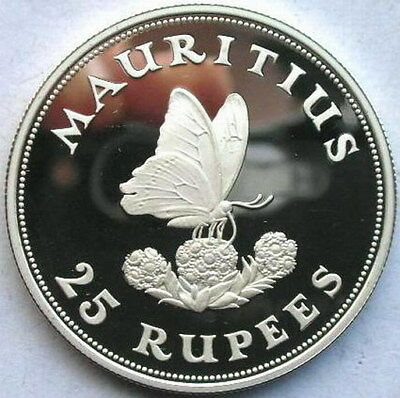 Mauritius 1975 Butterfly 25 Rupees Silver Coin,Proof
