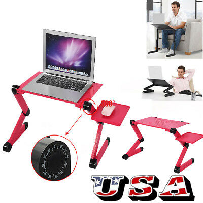 360° Adjustable Folding Laptop Desk Table Lap Bed Computer Desk Tray Stand Red