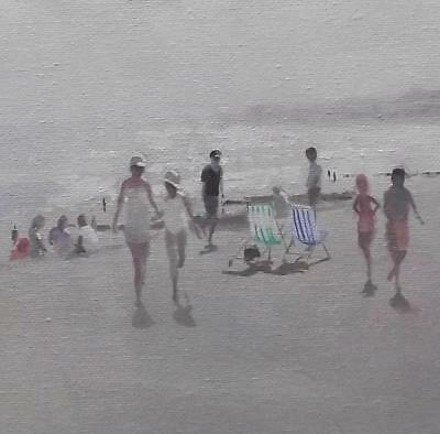 Deck Chairs on the Shore : Original Oil Painting by Zlatan Pilipovic