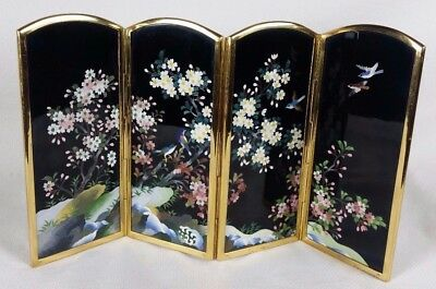 Fine Inaba Japanese Cloisonne Lacquer Folding Table Screen Birds Blossoms