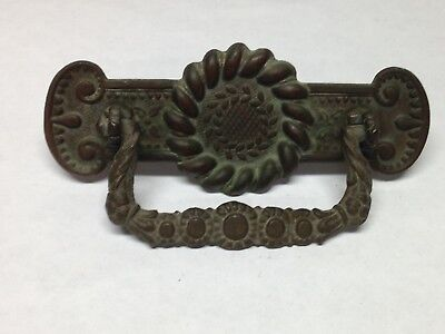 Antique Vintage  Brass Early American Federal Shabby Furniture Pull Handle Part