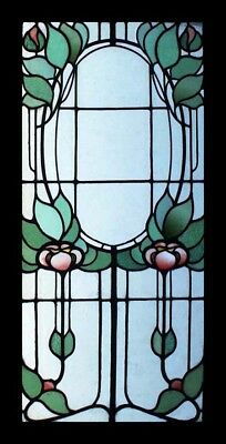 Amazing Very Rare Art Nouveau Floral English Stained Glass Window