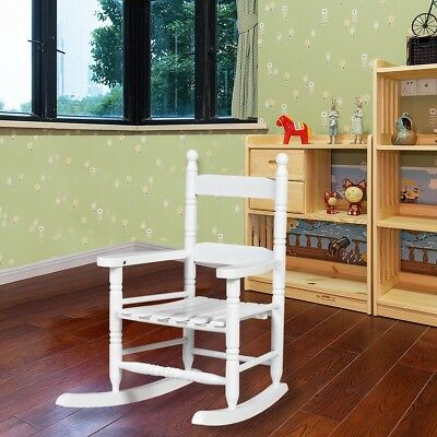White Vintage Wooden Kids Rocking Chair Bentwood Lounge Chair Relax Furniture US