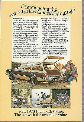 1978 PLYMOUTH VOLARE advertisement, PLYMOUTH ad, Volaré station wagon