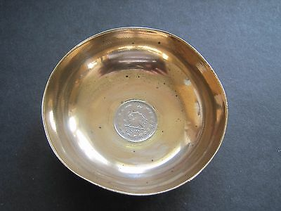 MIDDLE EASTERN ENGRAVED BRASS DISH or BOWL WITH INSET SILVER 1 RIALS COIN