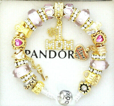 Authentic Pandora Charm Bracelet Silver with MOM Pink Gold European Charms NIB