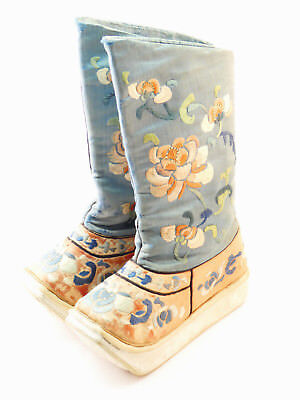 c1900, ANTIQUE CHINESE QING HAND EMBROIDERED SILK LOTUS CHILD'S SHOES BOOTS